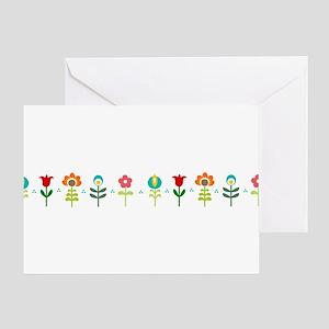 Retro folk floral line Greeting Card
