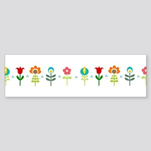 Retro folk floral line Bumper Sticker