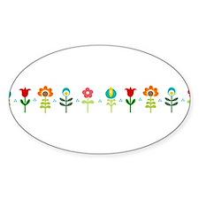 Retro folk floral line Sticker