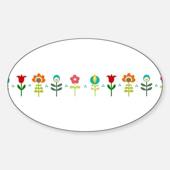 Retro folk floral line Decal