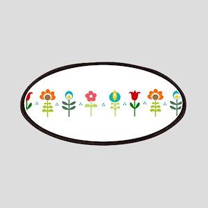 Retro folk floral line Patches