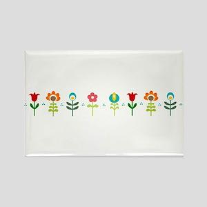 Retro folk floral line Rectangle Magnet