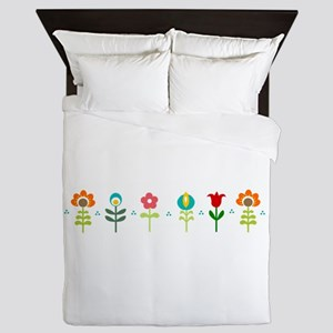 Retro folk floral line Queen Duvet
