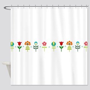 Retro folk floral line Shower Curtain