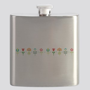 Retro folk floral line Flask