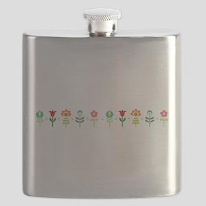 Retro folk floral line Flask