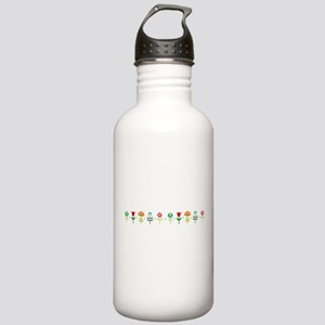 Retro folk floral line Sports Water Bottle