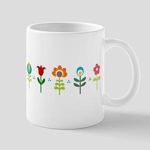 Retro folk floral line Small Mug