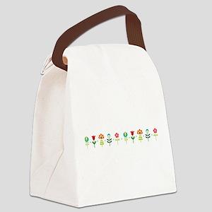Retro folk floral line Canvas Lunch Bag