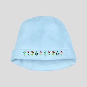 Retro folk floral line baby hat