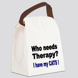 Who needs Therapy? I have my Cats! Canvas Lunch Ba