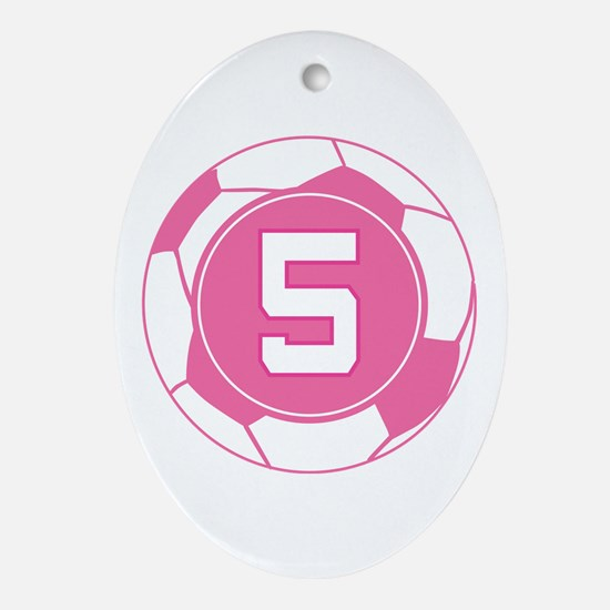 Soccer Number 5 Custom Player Ornament (Oval)