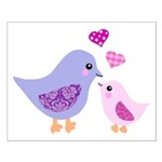 Cute mother and child birds Poster Design