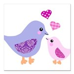 Cute mother and child birds Square Car Magnet 3