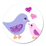 Cute mother and child birds Round Car Magnet
