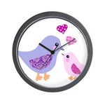 Cute mother and child birds Wall Clock