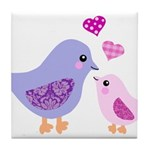 Cute mother and child birds Tile Coaster