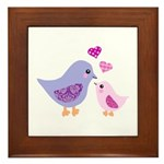 Cute mother and child birds Framed Tile