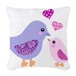 Cute mother and child birds Woven Throw Pillow