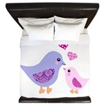 Cute mother and child birds King Duvet