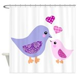 Cute mother and child birds Shower Curtain