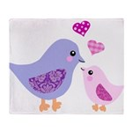 Cute mother and child birds Throw Blanket