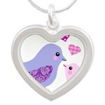 Cute mother and child birds Necklaces
