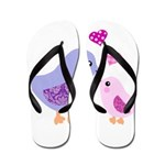 Cute mother and child birds Flip Flops