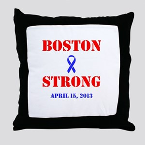 Boston Strong Red and Blue Throw Pillow