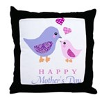 Happy Mothers day bird and chick Throw Pillow