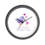 Happy Mothers day bird and chick Wall Clock