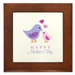 Happy Mothers day bird and chick Framed Tile