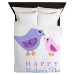 Happy Mothers day bird and chick Queen Duvet