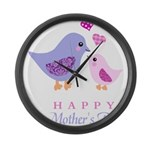 Happy Mothers day bird and chick Large Wall Clock