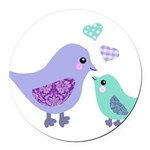 Mama bird and chick Round Car Magnet