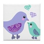 Mama bird and chick Tile Coaster