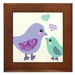 Mama bird and chick Framed Tile