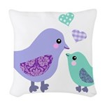Mama bird and chick Woven Throw Pillow