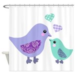 Mama bird and chick Shower Curtain