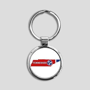 Tennessee Flag Round Keychain