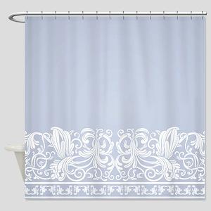 Light Blue Damask Shower Curtain