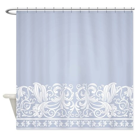 Incroyable Light Blue Damask Shower Curtain