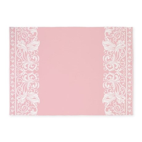 Light Pink Damask 5 X7 Area Rug By Decorativedesigns