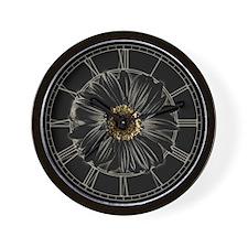 Black Daisy Wall Clock