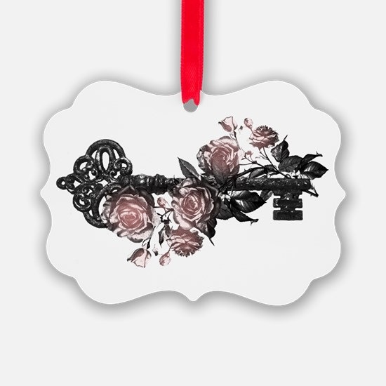 Gothic Key And Roses Ornament