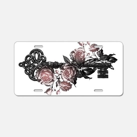 Gothic Key And Roses Aluminum License Plate