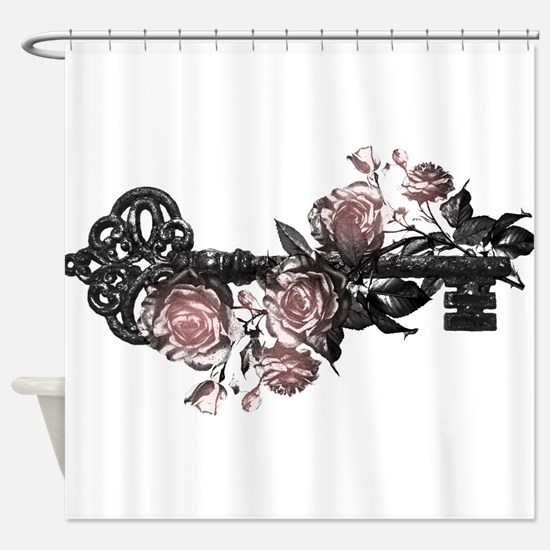 Gothic Key And Roses Shower Curtain