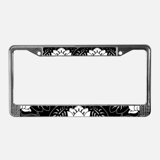 Black And White Water Lily License Plate Frame