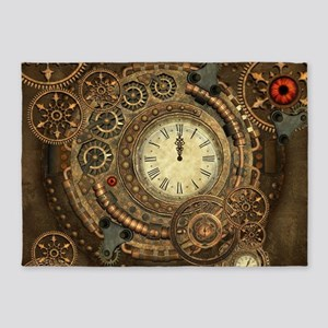 Steampunk, clockwork with gears 5'x7'Area Rug