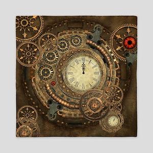 Steampunk, clockwork with gears Queen Duvet